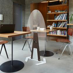 床置き楕円形アクリルパーテーション