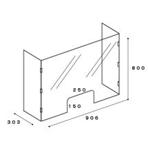 コの字・アクリル板高さ800㎜(奥行き300mm)タイプ 図面