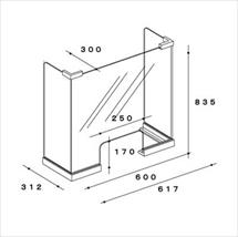 飛沫防止アクリル板 木製コの字タイプLスタンド奥行き300 図面
