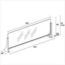 飛沫防止アクリル板 木製ジャンボスタンドかさ上げタイプ 図面