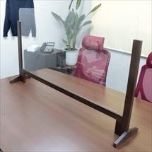 飛沫防止アクリル板 木製エンドスタンドH600 アクリル高さH600 かさ上げレール 商品写真