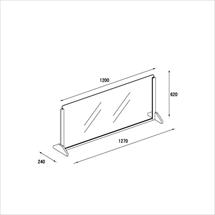 飛沫防止アクリル板 木製エンドスタンドH600 アクリル高さH600 アンダーレール 図面