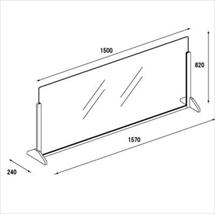 飛沫防止アクリル板 木製エンドスタンドH600 アクリル高さH800 アンダーレール 図面