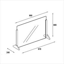 飛沫防止アクリル板 木製エンドスタンドH600 図面
