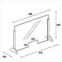 飛沫防止アクリル板 木製エンドスタンドH600窓ありタイプ 図面