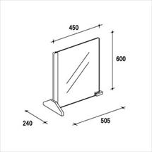飛沫防止アクリル板 カウンター用木製スタンドH600 図面