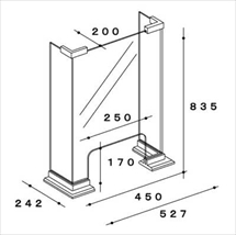 飛沫防止アクリル板 木製コの字タイプTスタンド奥行き200 図面