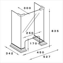 飛沫防止アクリル板 木製コの字タイプTスタンド奥行き300 図面