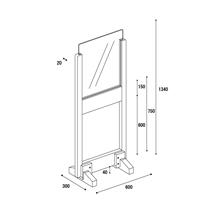アクリル板 コロナ対策 床置きパーテーション >アクリル・下部窓付きタイプ 図面