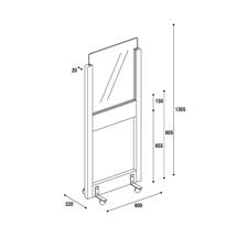 アクリル板 コロナ対策 床置きパーテーション スチール脚 アクリル・下部窓付きタイプ(キャスター付き) 図面