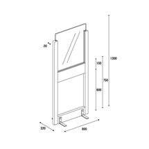 アクリル板 コロナ対策 床置きパーテーション スチール脚 アクリル・下部窓付きタイプ 図面