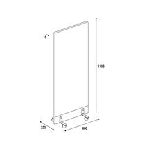 アクリル板 コロナ対策 床置きパーテーション スチール脚 総化粧板仕上げタイプ(キャスター付き) 図面